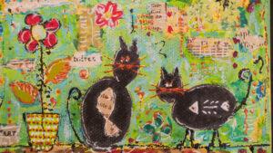 chats fond vert